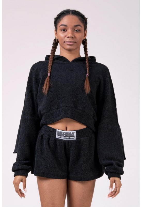 Укороченная толстовка Nebbia Ribbon cropped hoodie 520 black