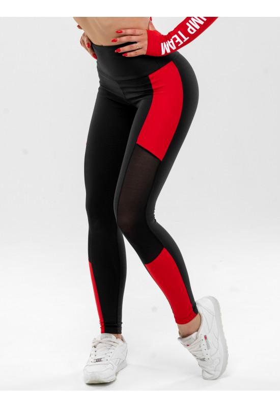Женские леггинсы Olimp MESH-STRIPES BLACK & RED